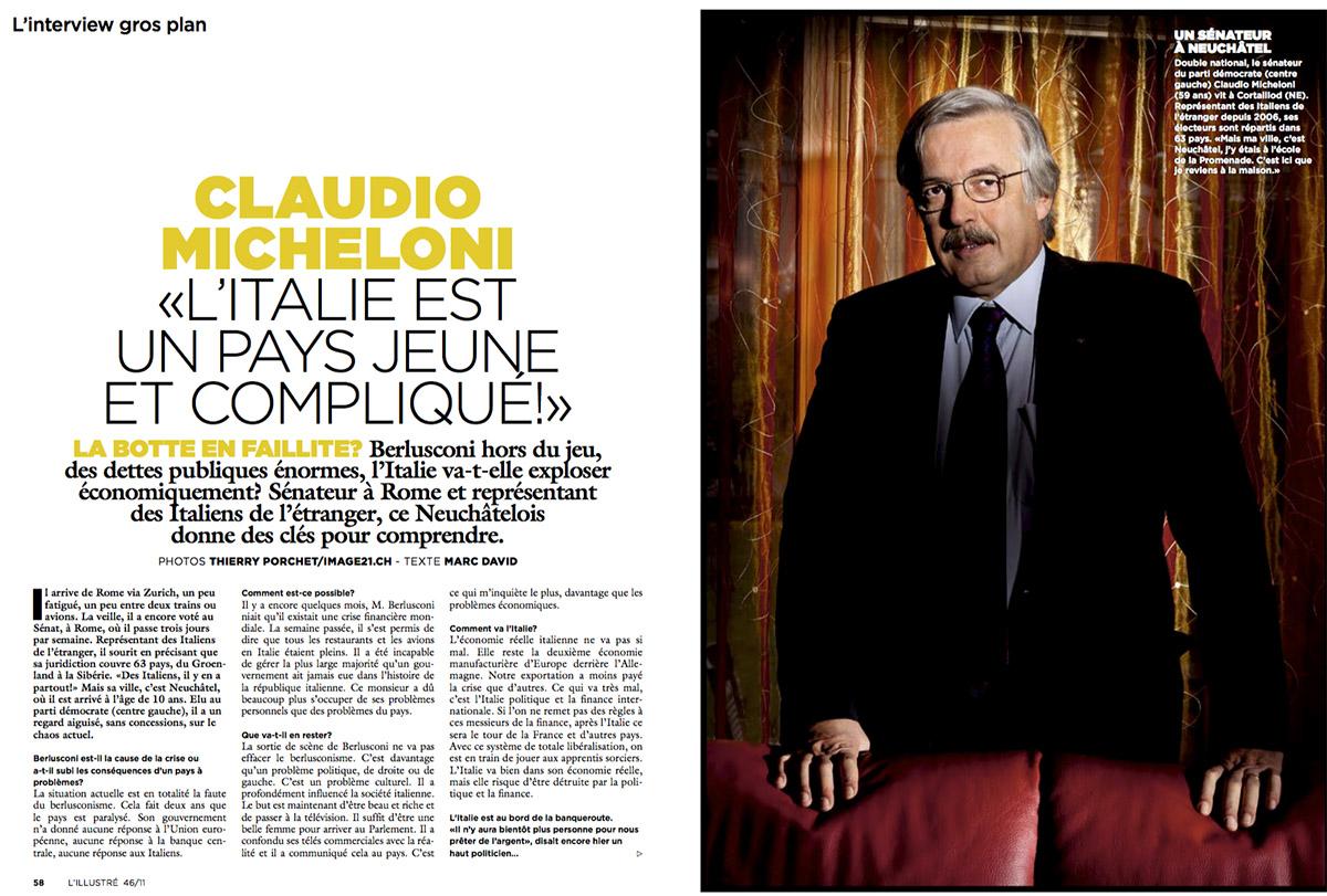 Portrait du Sénateur Claudio Micheloni pour L'Illustré. © Thierry Porchet