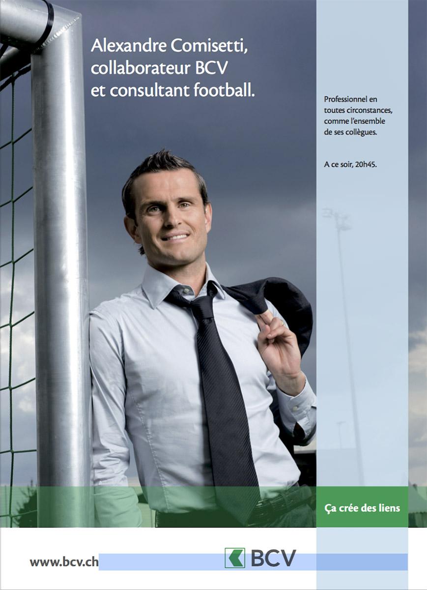Portrait d'Alexandre Comisetti, campagne de pub BCV. © Thierry Porchet