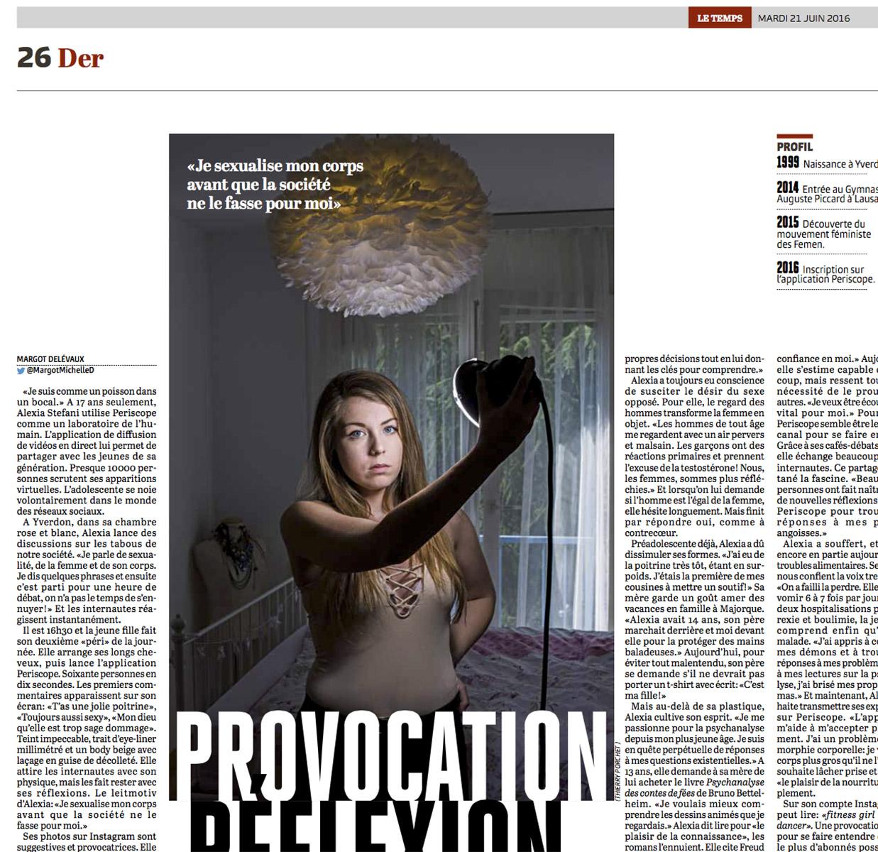 Alexia et l'aplication périscope pour Le Temps © Thierry Porchet