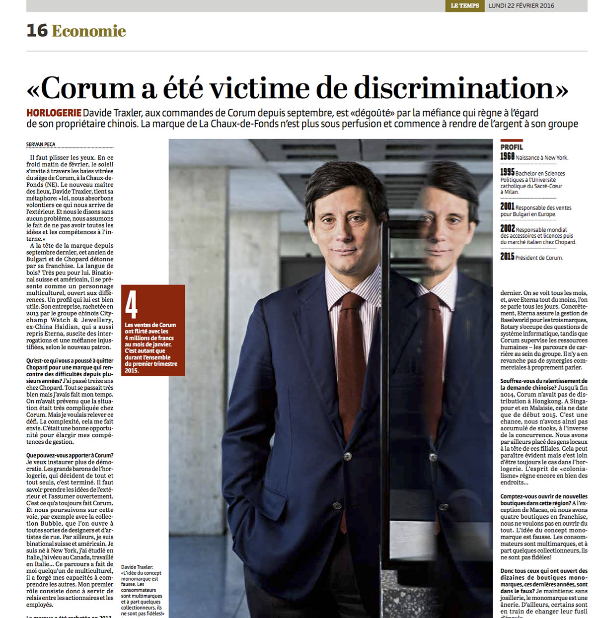 Portrait du directeur de Corum pour Le Temps / ©Thierry Porchet