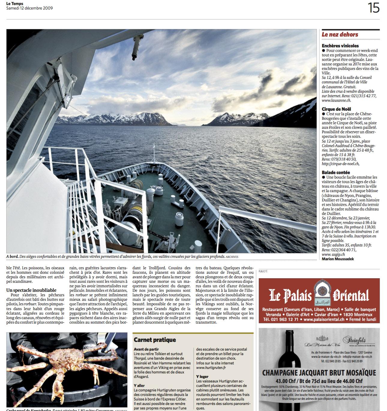 Double page sur la Norvège dans Le Temps / © Thierry Porchet