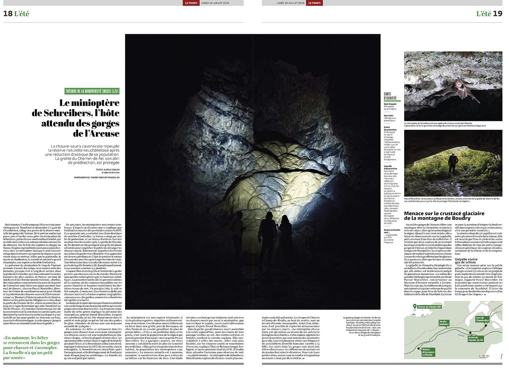 Double page à la recherche de chauve-souris, Le Temps / ©Thierry Porchet