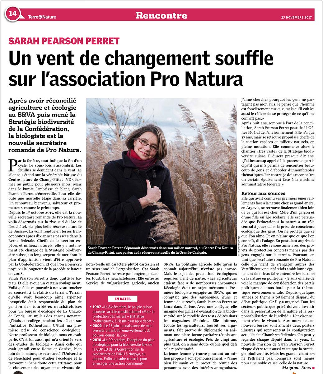 Portrait de Sarah Pearson Perret pour Terre et Nature. © Thierry Porchet