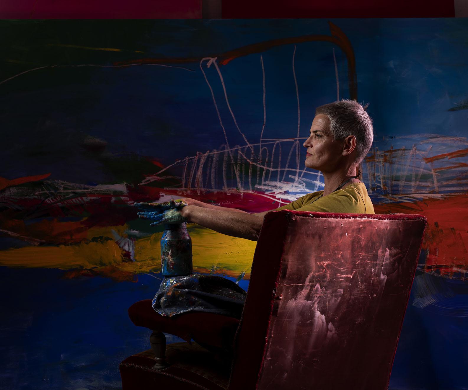 Portrait de Andrea Dora Wolfskämpf, artiste peintre, scénographe ©Thierry Porchet