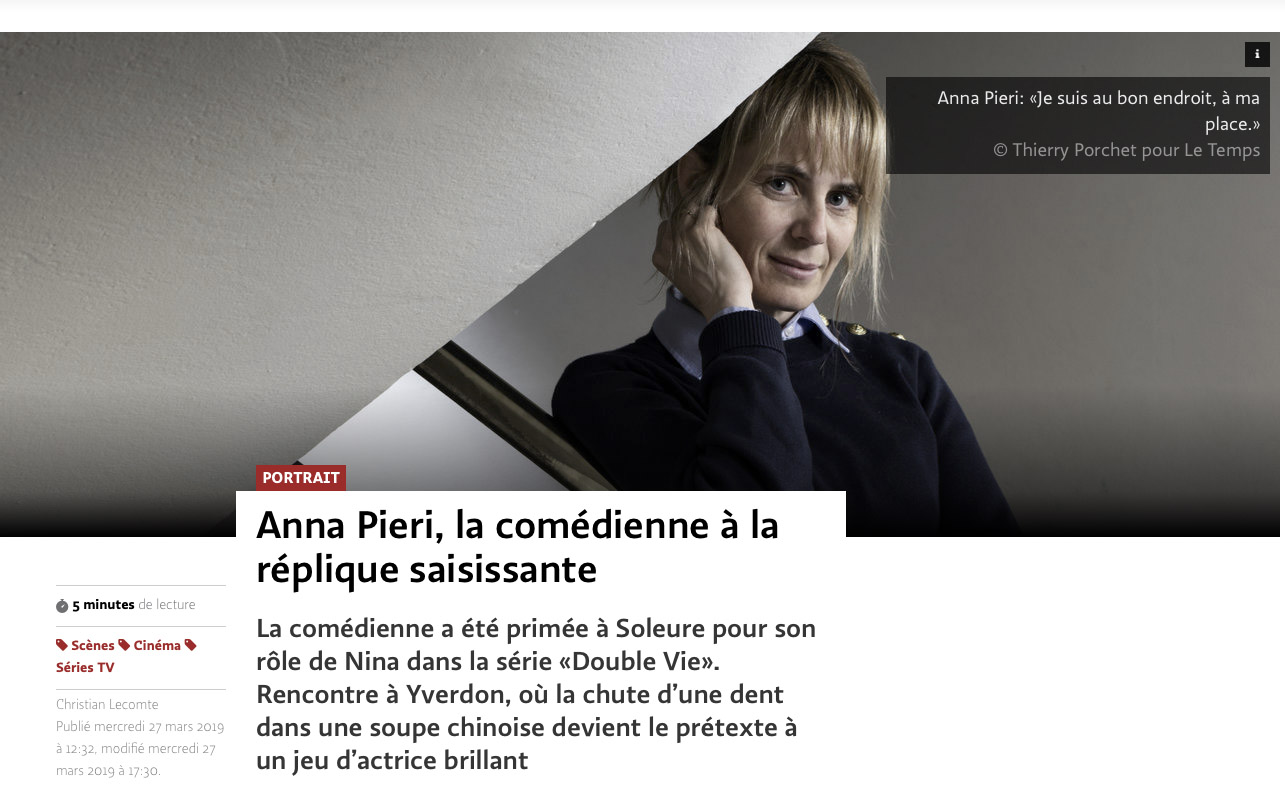 Anna Pieri pour Le Temps ©Thierry Porchet