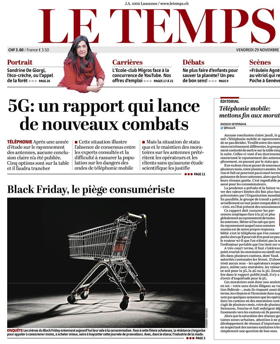 UNE du journal Le Temps pour le Blackfriday ©Thierry Porchet