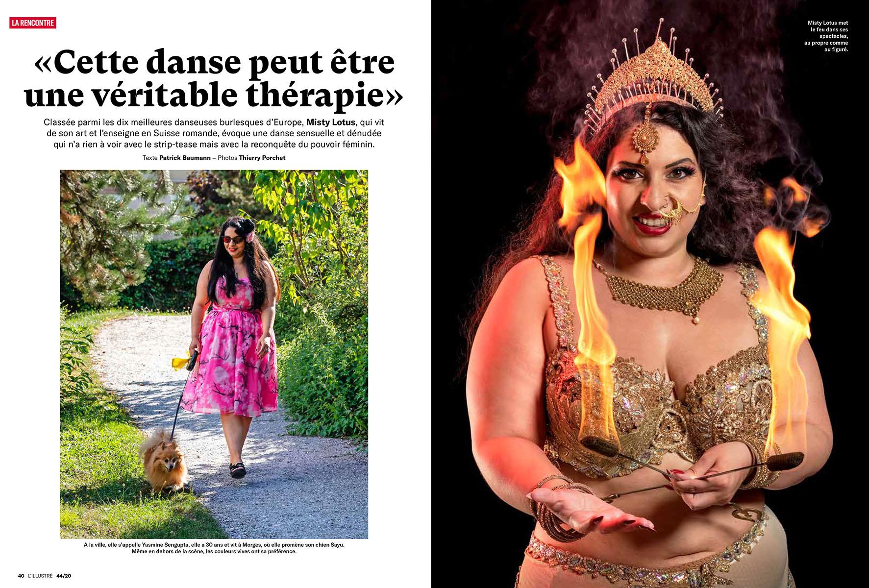 Reportage pour L'illustré, danseuse burlesque, Misty ©Thierry Porchet