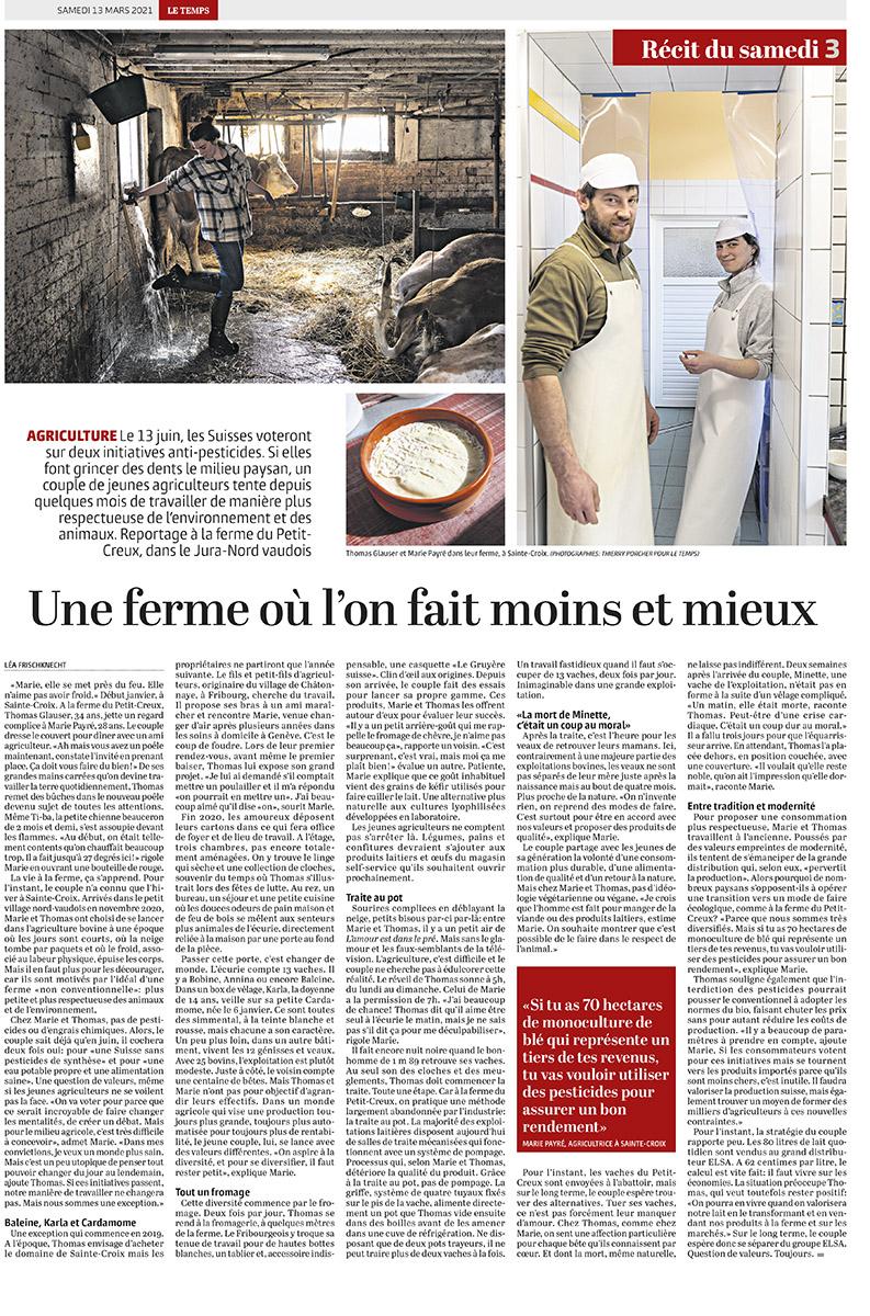 Reportage à la ferme du petit-creux / Le Temps